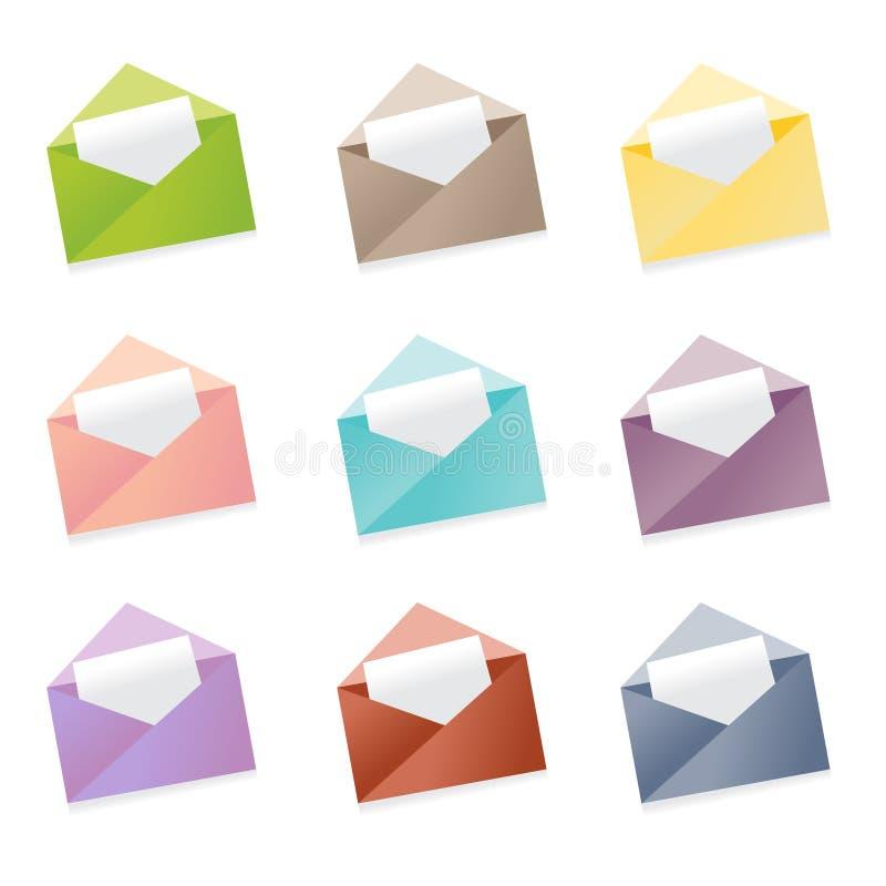 Envie o fundo branco isolado diferente do grupo de cores do ícone do envelope ilustração stock