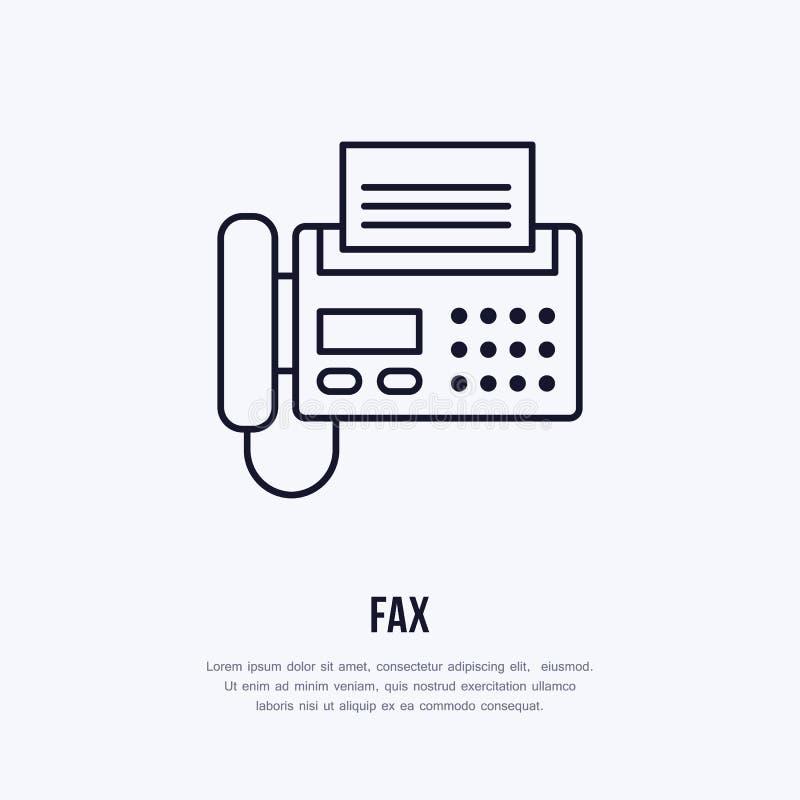 Envie o telefone com linha lisa ícone da página de papel Tecnologia sem fios, sinal do equipamento de escritório Ilustração do ve ilustração stock