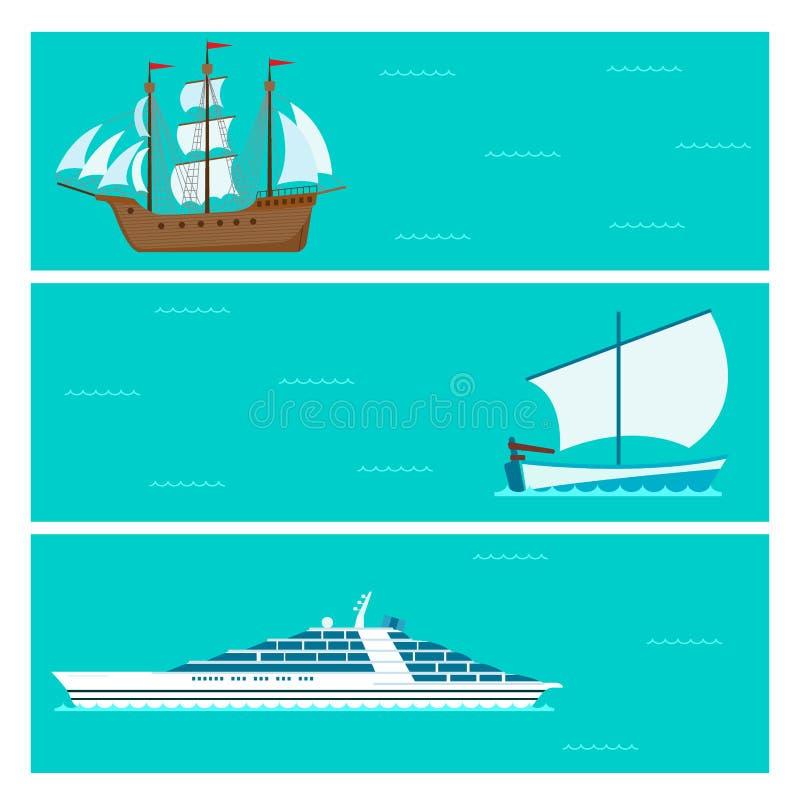 Envie o vetor da indústria de viagens da embarcação do folheto do mar do barco do cruzador ilustração stock