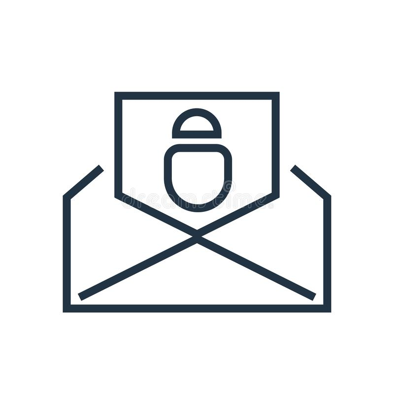 Envie o vetor do ícone isolado no fundo branco, sinal do correio ilustração stock