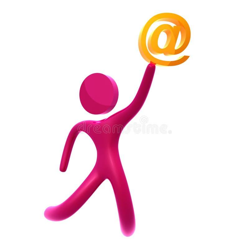 Envie por correio electrónico emitem e recebem o ícone 3d ilustração stock