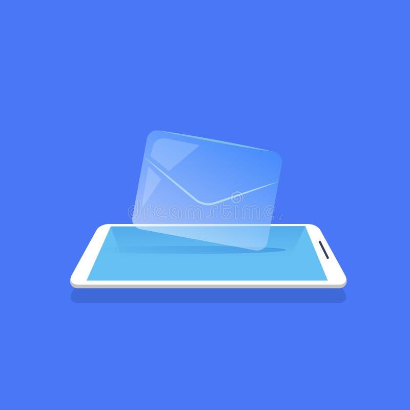 Envie por correio eletrónico a ícone do envelope a aplicação móvel do mensageiro plano azul do fundo ilustração do vetor