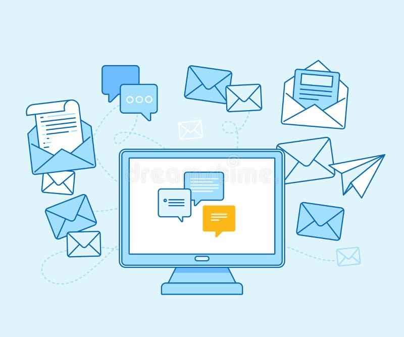 Envie por correio eletrónico o conceito do mercado - computador com envio pelo correio do app ilustração do vetor