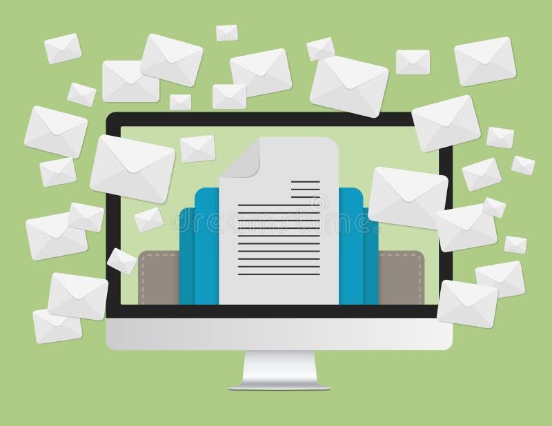 Envie por correio eletrónico o conceito do mercado e as muitas mensagens dos envelopes na tela de laptop ilustração royalty free