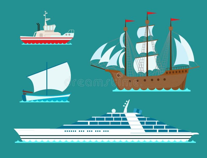 Envie veleiros do vetor da indústria de viagens da embarcação do símbolo do mar do barco do cruzador ilustração stock