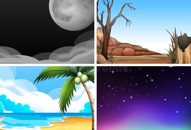 Envinoments naturais vazios com árvores, estrelas, lua, noite e dia ilustração royalty free