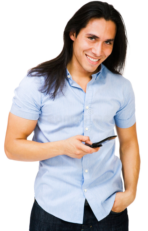 Envio de mensagem de texto feliz do homem foto de stock royalty free