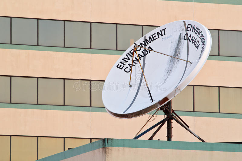 Environment Canada Satellite Dish. DARTMOUTH, CANADA - JUNE 23, 2017: Environment Canada satellite dish. Environment Canada is a federal government department royalty free stock images