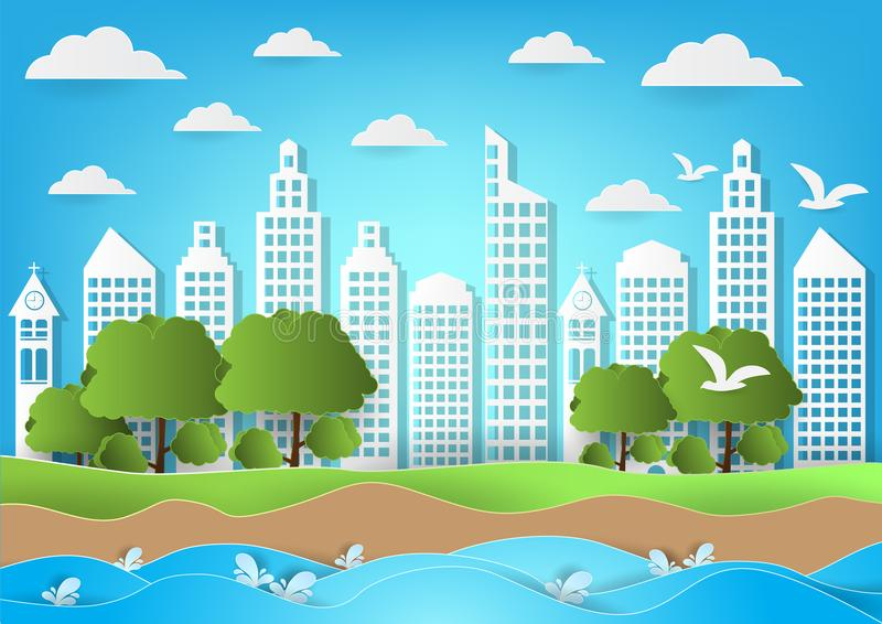 Environment of city with sea and beach background. paper art style vector illustration.