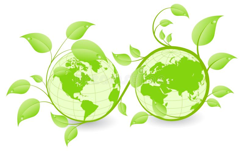 Environment concept III. Earth hemispheres covered by green plants. Ecology concept. Vector illustration, isolated on a white royalty free illustration
