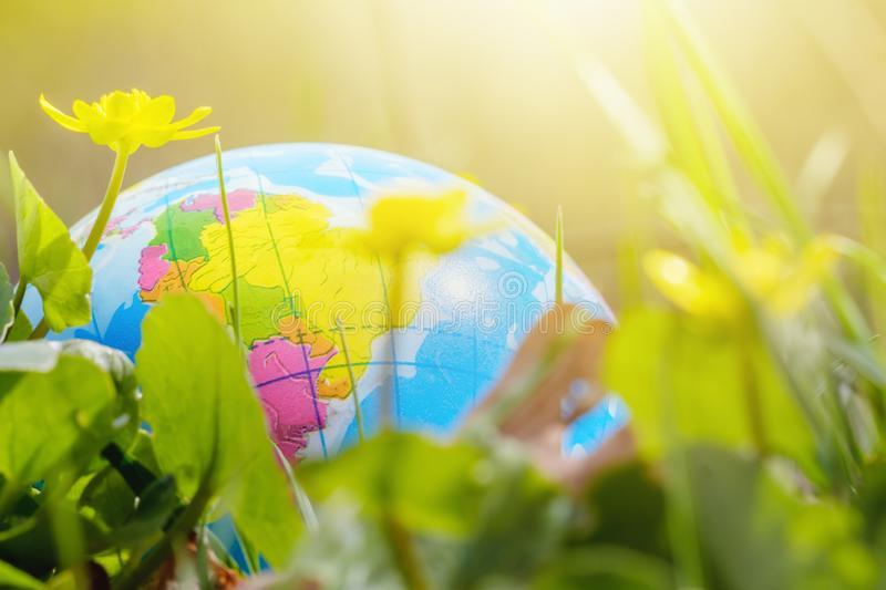 Environment concept, world globe in the grass. Travel and adventure, activities stock photos