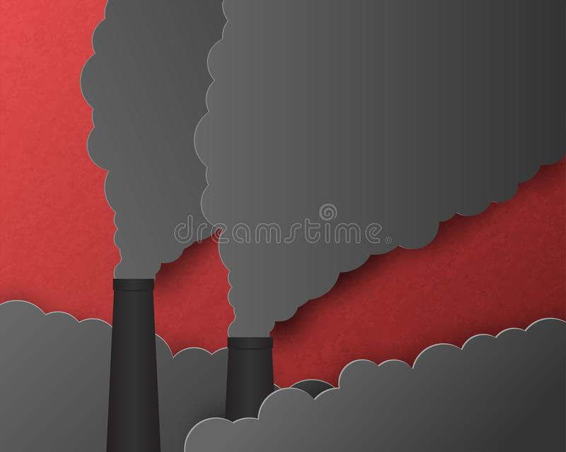 Environment conservation concept. Smoke pollution that floats out of the industrial chimneys. Vector illustration paper art in royalty free stock images