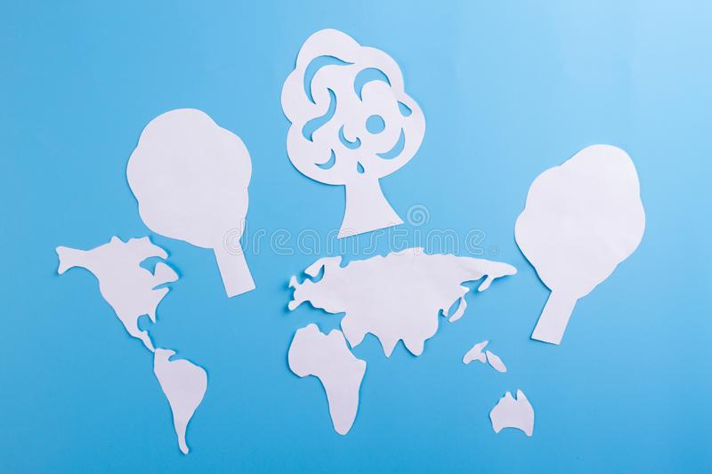 Environment conservation concept. World map and green tree royalty free stock photography