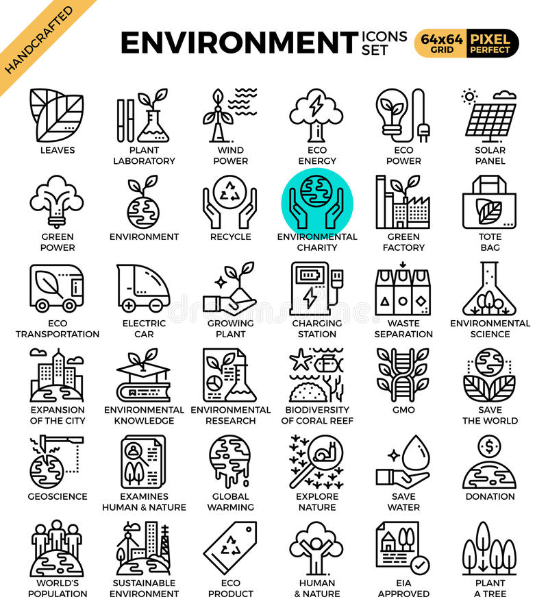 Environment & eco concept detailed line icons. Set in modern line icon style for ux, web, app design royalty free illustration