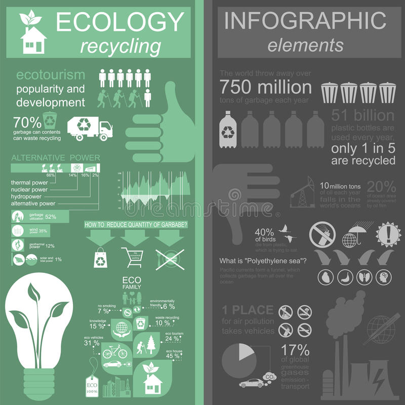 Environment, ecology infographic elements. Environmental risks,. Ecosystem. Template. Vector illustration stock illustration
