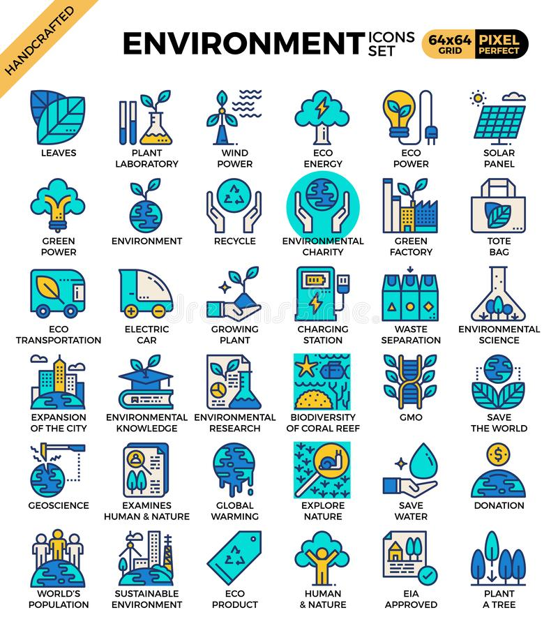 Environment & eco concept detailed line icons. Environment royalty free illustration