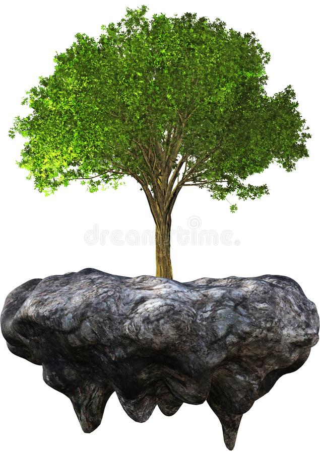 Environment, Environmentalism, Tree, Nature, Isolated. Abstract concept for the environment, environmentalism, tree, desert. A mature tree is floating and flying royalty free illustration