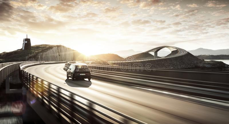 Environment friendly electric car on a road royalty free stock images