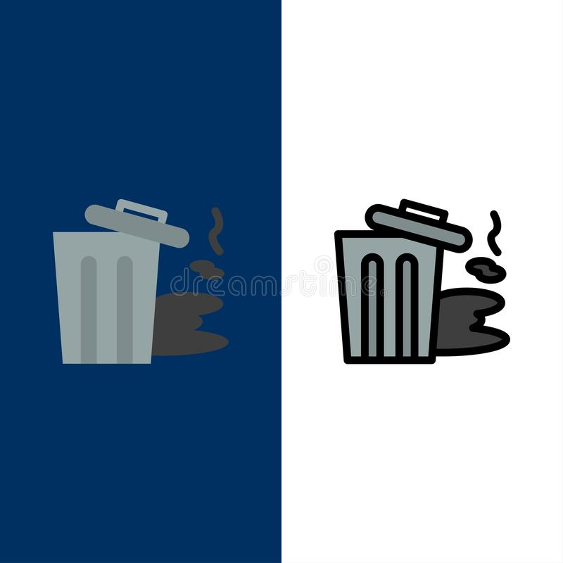 Environment, Garbage, Pollution, Trash  Icons. Flat and Line Filled Icon Set Vector Blue Background royalty free illustration
