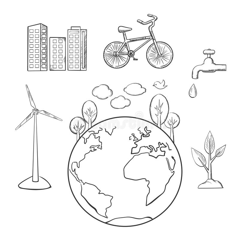 Environment, green energy and ecology sketches royalty free illustration