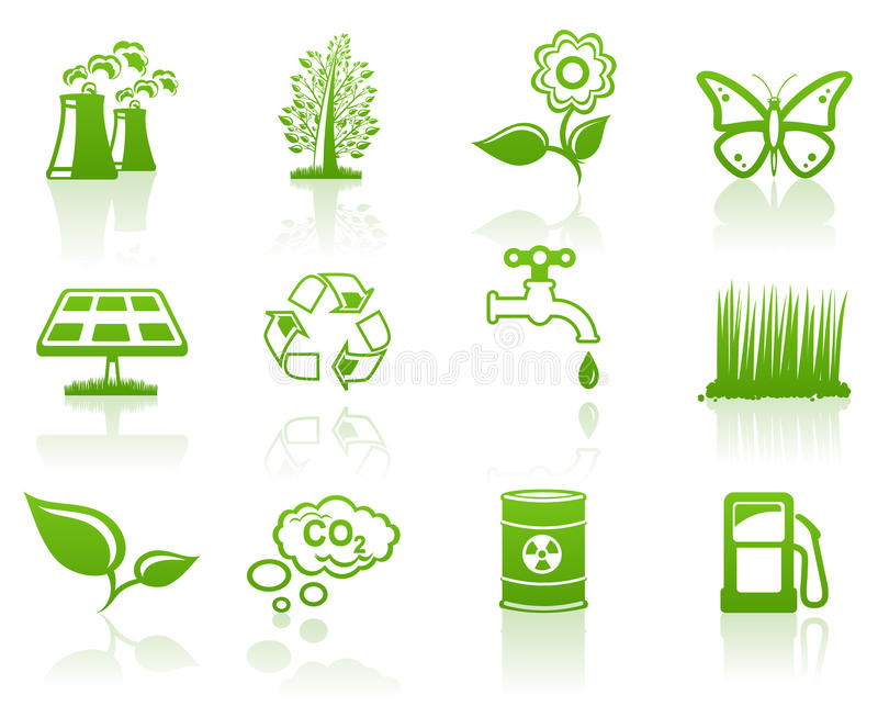 Download Environment green icon set stock vector. Image of renewed - 15573044