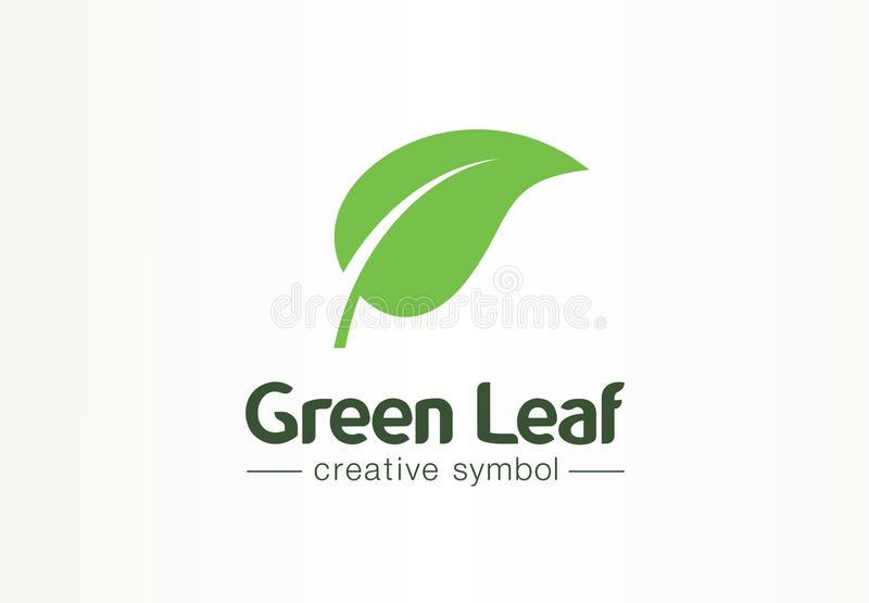 Environment, green leaf, organic creative symbol concept. Natural bio cosmetics, nature abstract business logo idea. Growth plant eco icon. Corporate identity royalty free illustration