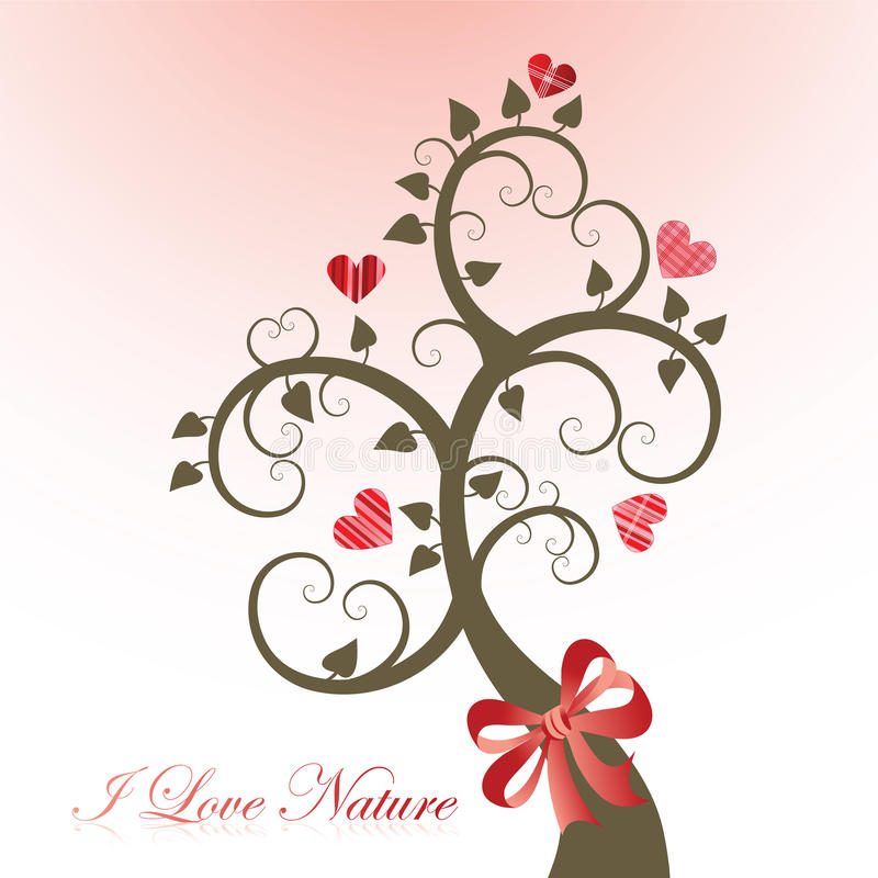 Environment icon. I love Nature environment concept coil tree with hearts royalty free illustration