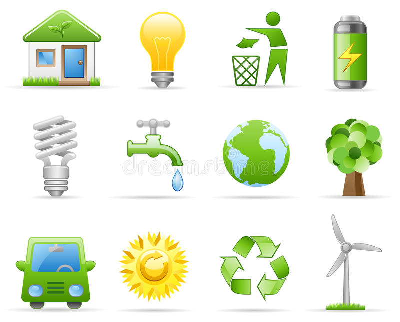 Environment icon set stock illustration