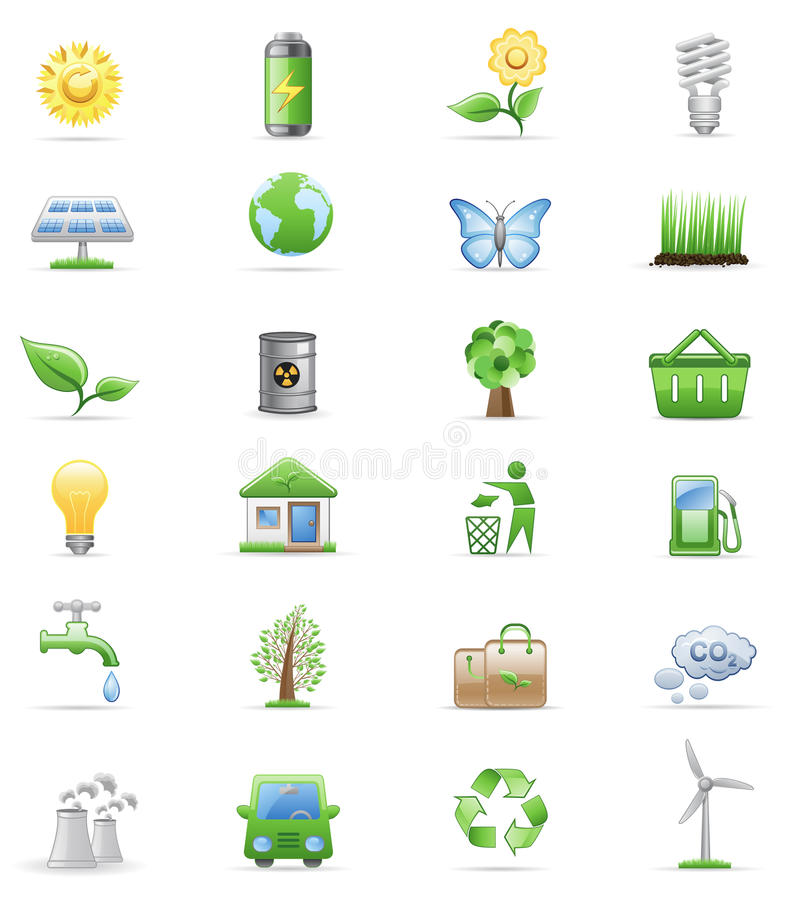 Environment icon set. stock illustration