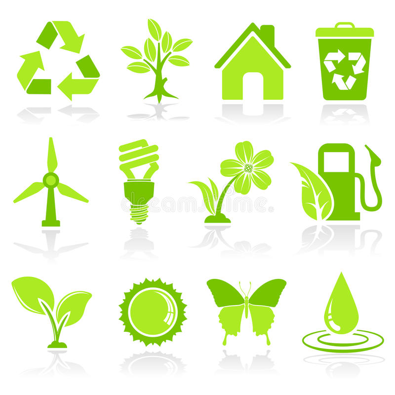 Environment Icons. Collect Environment Icon with Tree, Leaf, Light Bulb, Recycling Symbol, vector isolated on white background vector illustration