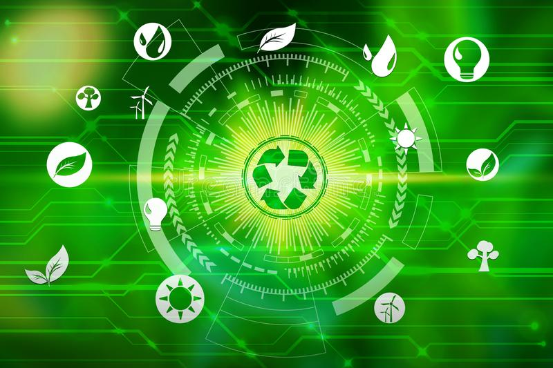 Environment icons over the Network connection on nature background, Technology ecology concept.  stock photo