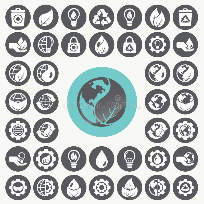 Environment icons set. royalty free illustration