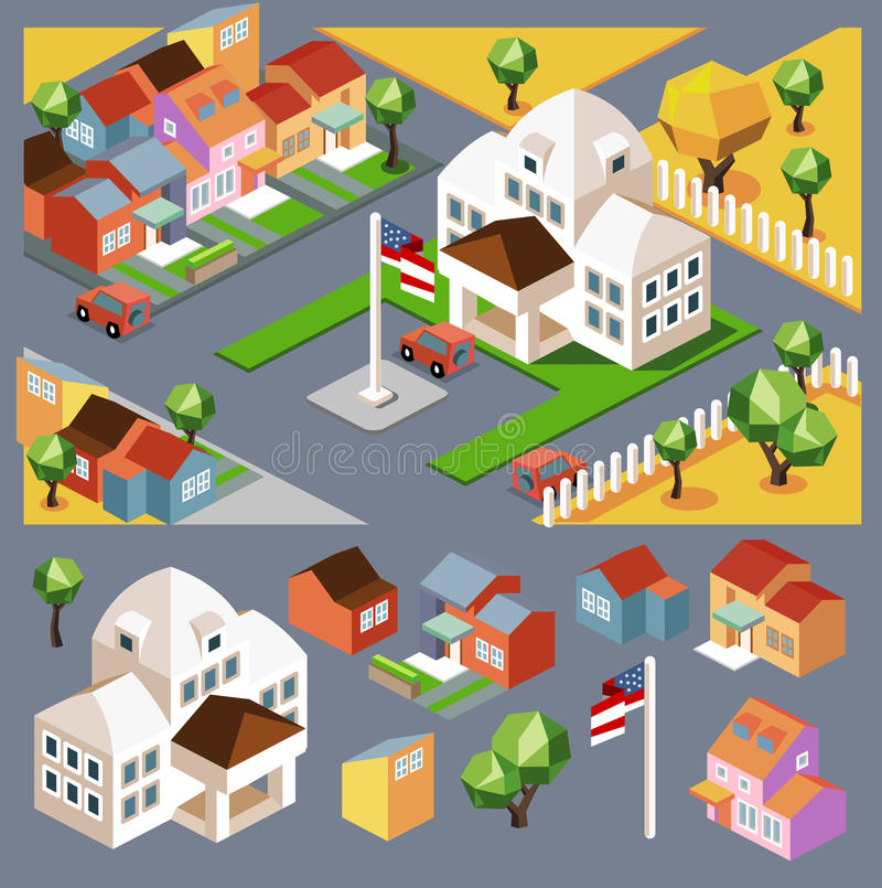 Environment isometric and buildings stock illustration