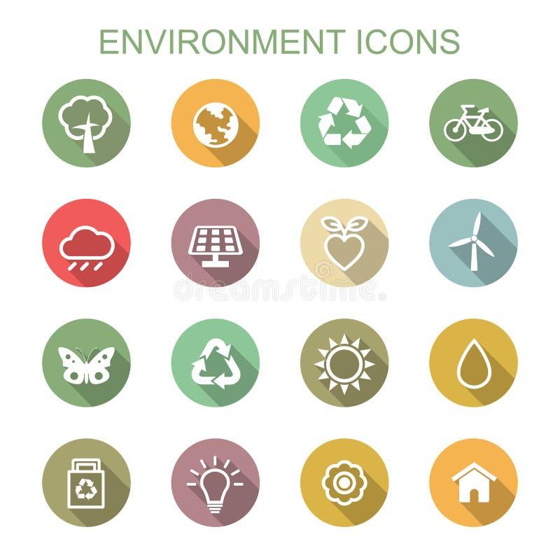 Environment long shadow icons royalty free illustration