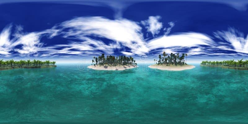 Environment map, tropical island archipelago beach with palm trees, beach with palm trees stock photo