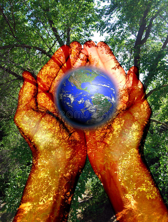 Environment in our hands stock illustration