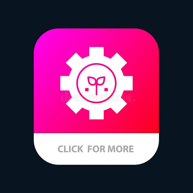 Environment, Plant, Gear, Setting Mobile App Button. Android and IOS Glyph Version stock illustration