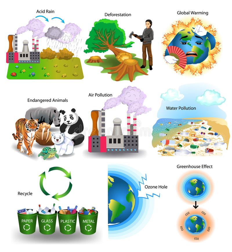 Environment problems like acid rain, deforestation, global warming, endangered animals, air pollution. Vector collection of environment problems like acid rain vector illustration