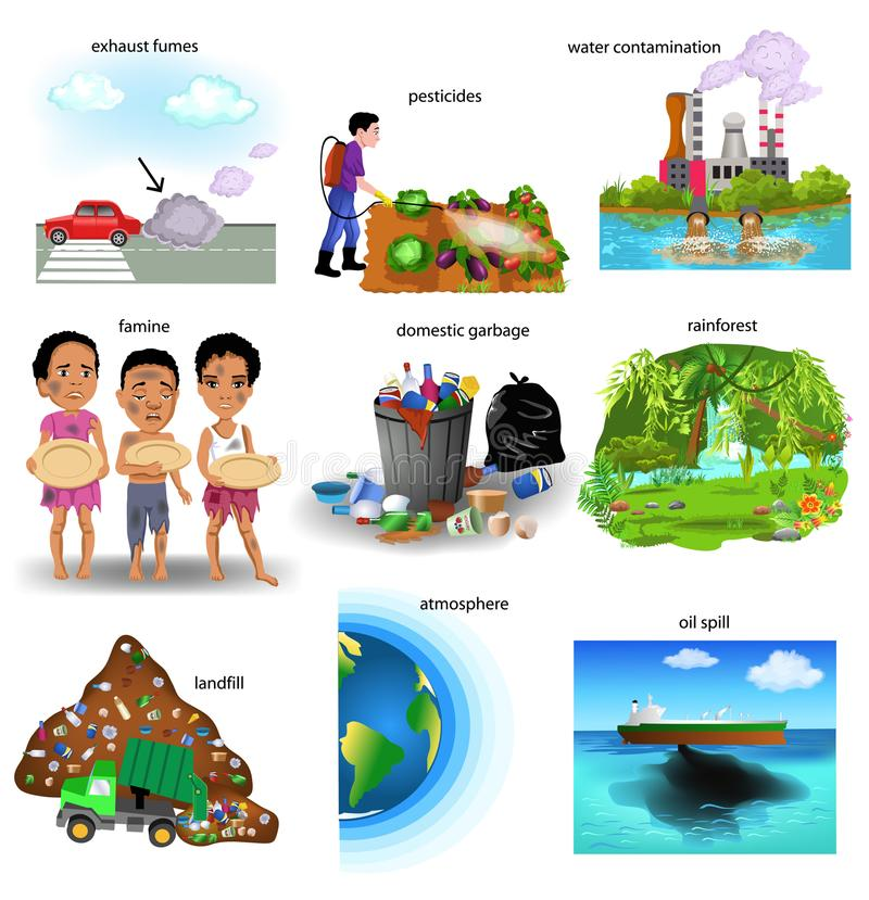 Environment problems like exhaust fumes, pesticides, water contamination, famine, domestic garbage, atmosphe royalty free illustration