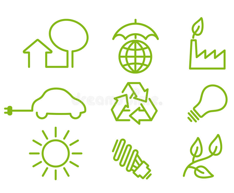 Environment protection icons stock illustration