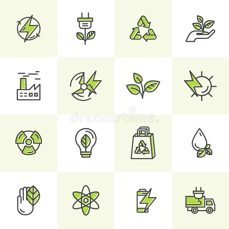 Environment, renewable energy, sustainable technology, recycling, ecology solutions. Icons for website, mobile app design, electri stock images