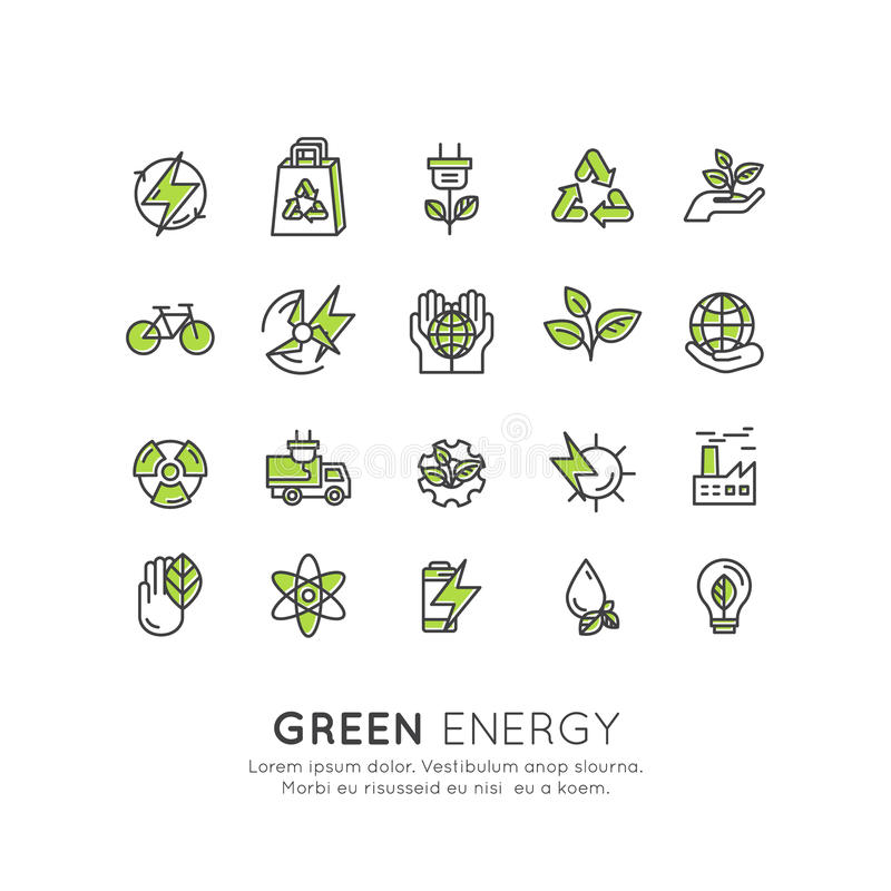 Environment, renewable energy, sustainable technology, recycling, ecology solutions. Website, mobile app design, electric car,bio. Vector Icon Style Logo Set vector illustration