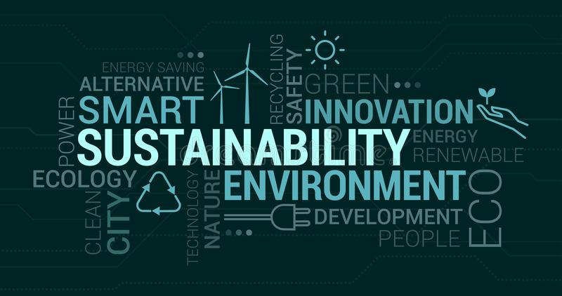 Environment, smart cities and sustainability tag cloud royalty free illustration