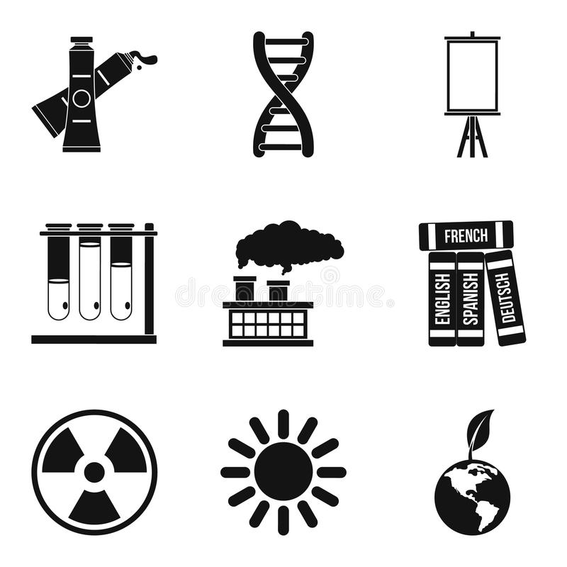 Environment study icons set, simple style royalty free illustration