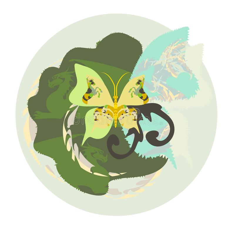 Environment. The stylized butterfly and dragons in