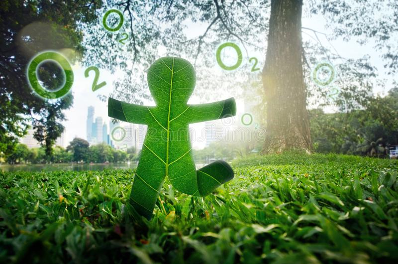 Environment to fresh air concept. People Running made of Green Leave .Environment to fresh air concept stock image