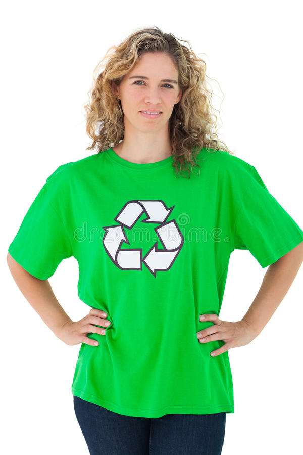 Environmental activist wearing green shirt with recycling symbol stock photography