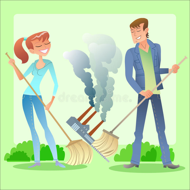 Environmental activists cleanse the planet of. Environmental activists boy and girl clean green planet of garbage and air pollution stock illustration