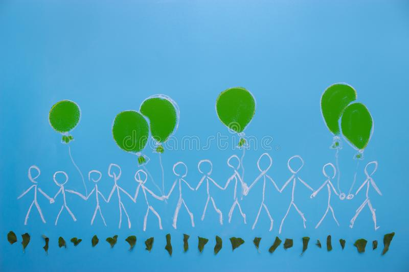 Environmental activists concept. Leaf and people characters on blue background vector illustration