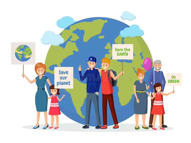 Environmental activists with posters flat illustration. Nature protection, Earth planet saving, eco conservation, green technology meeting. Protest action royalty free illustration